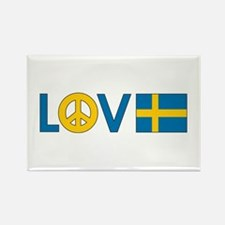 Love Peace Sweden Rectangle Magnet