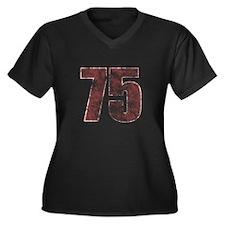 75th Birthday Red Grunge Women's Plus Size V-Neck