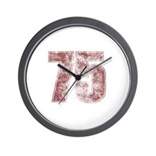 75th Birthday Red Grunge Wall Clock