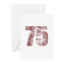 75th Birthday Red Grunge Greeting Cards (Pk of 10)