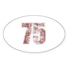 75th Birthday Red Grunge Decal