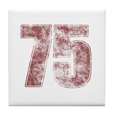 75th Birthday Red Grunge Tile Coaster