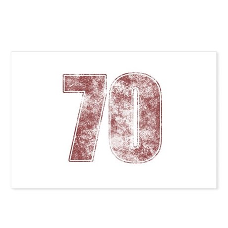 70th Birthday Red Grunge Postcards (Package of 8)