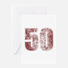 50th Birthday Red Grunge Greeting Card