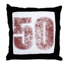 50th Birthday Red Grunge Throw Pillow