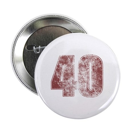 "40th Birthday Red Grunge 2.25"" Button"