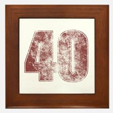 40th Birthday Red Grunge Framed Tile