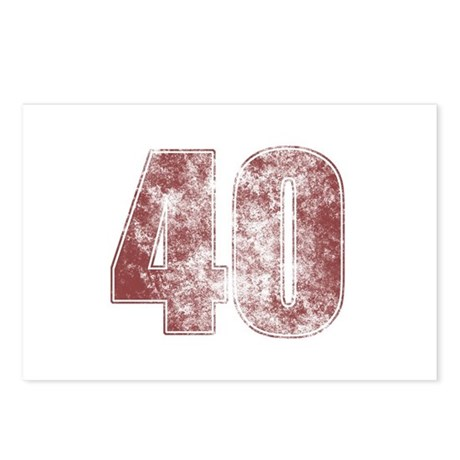 40th Birthday Red Grunge Postcards (Package of 8)