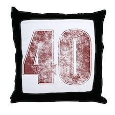 40th Birthday Red Grunge Throw Pillow