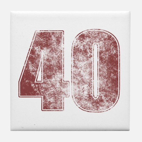 40th Birthday Red Grunge Tile Coaster