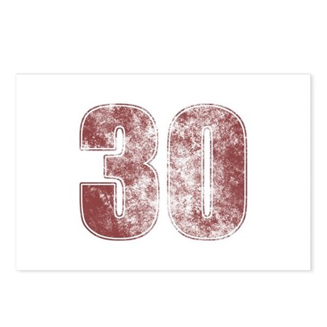 30th Birthday Red Grunge Postcards (Package of 8)