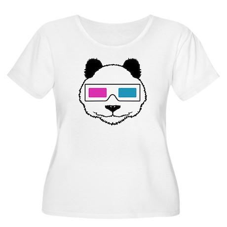 3D Panda Women's Plus Size Scoop Neck T-Shirt