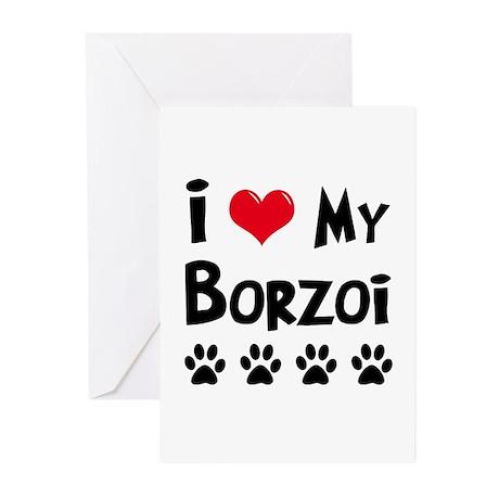 I Love My Borzoi Greeting Cards (Pk of 10)