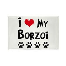 I Love My Borzoi Rectangle Magnet