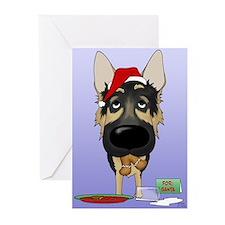 German Shepherd Santa Greeting Cards (Pk of 10)