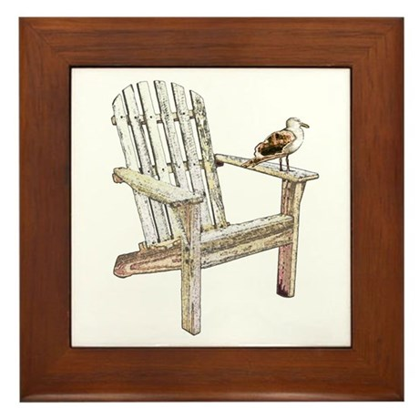 Adirondack Chair Framed Tile By Crittercollect