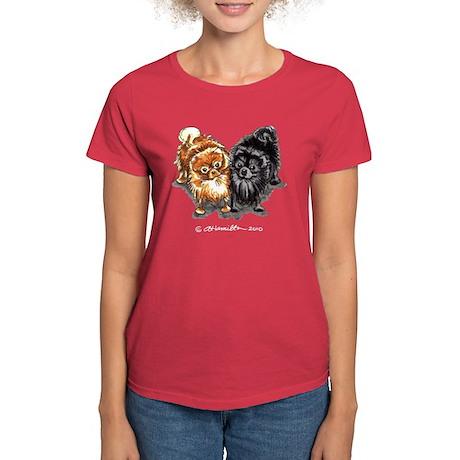 Black Red Pomeranian Women's Dark T-Shirt
