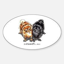 Black Red Pomeranian Sticker (Oval)