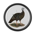 Turkey: Eastern Wild Hen Large Wall Clock