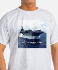 USS Constellation (CV 64) Ash Grey T-Shirt