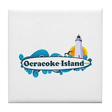 Ocracoke Island - Surf Design Tile Coaster
