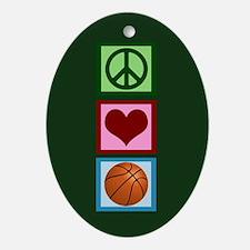Peace Love Basketball Ornament (Oval)