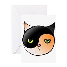 Ying Yang Yin Yang Cat Calico Greeting Card
