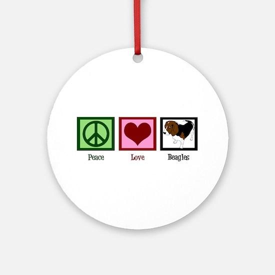 Peace Love Beagles Ornament (Round)