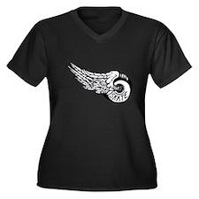Cute Skateboarding Women's Plus Size V-Neck Dark T-Shirt