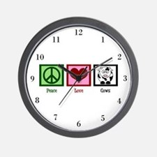 Peace Love Cows Wall Clock
