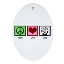 Peace Love Cows Ornament (Oval)