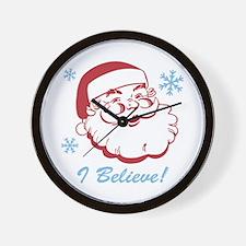 Retro Santa Believe Wall Clock