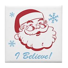 Retro Santa Believe Tile Coaster