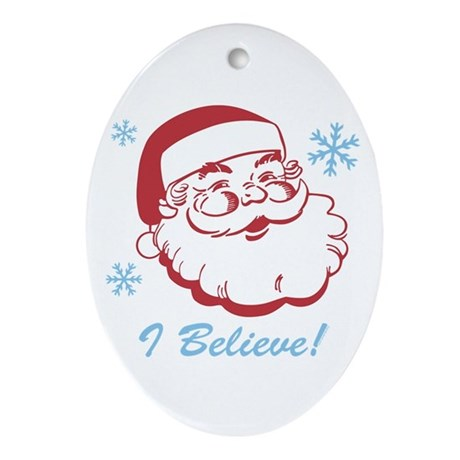 Retro Santa Believe Ornament (Oval)