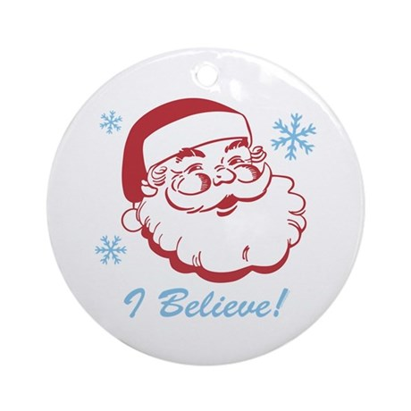 Retro Santa Believe Ornament (Round)