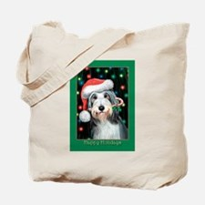 Bearded Collie Happy Holidays Tote Bag