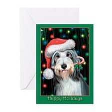 Bearded Collie Happy Holidays Greeting Cards (Pk o