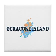 Ocracoke Island - Seashells Design Tile Coaster