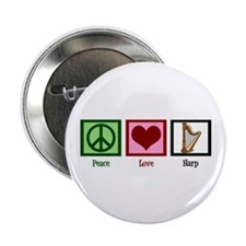 "Peace Love Harp 2.25"" Button"