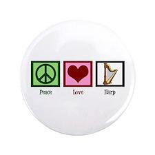 "Peace Love Harp 3.5"" Button"