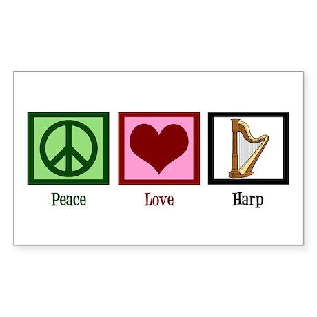 Peace Love Harp Sticker (Rectangle)