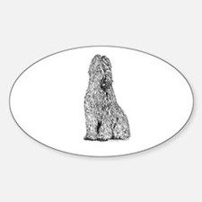 Black-Born Grey Briard Bitch Oval Decal
