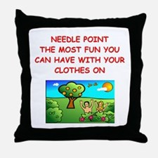 i love needlepoint Throw Pillow