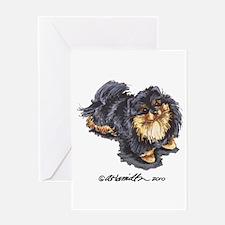 Black Tan Pomeranian Greeting Card