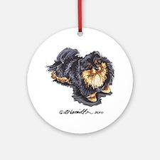 Black Tan Pomeranian Ornament (Round)