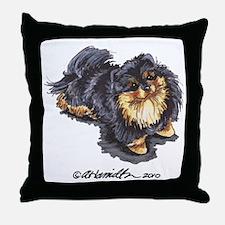 Black Tan Pomeranian Throw Pillow