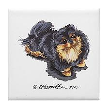 Black Tan Pomeranian Tile Coaster