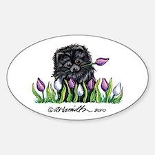 Black Pomeranian Tulips Decal