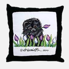 Black Pomeranian Tulips Throw Pillow