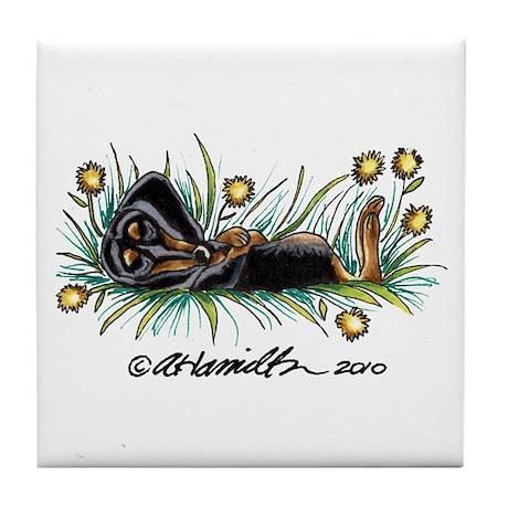 Dandelion Dachshund Lover Tile Coaster